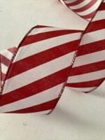 Candy Cane Peppermint Wire Edged Ribbon