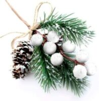 Christmas Picks with White Berries - set of 8