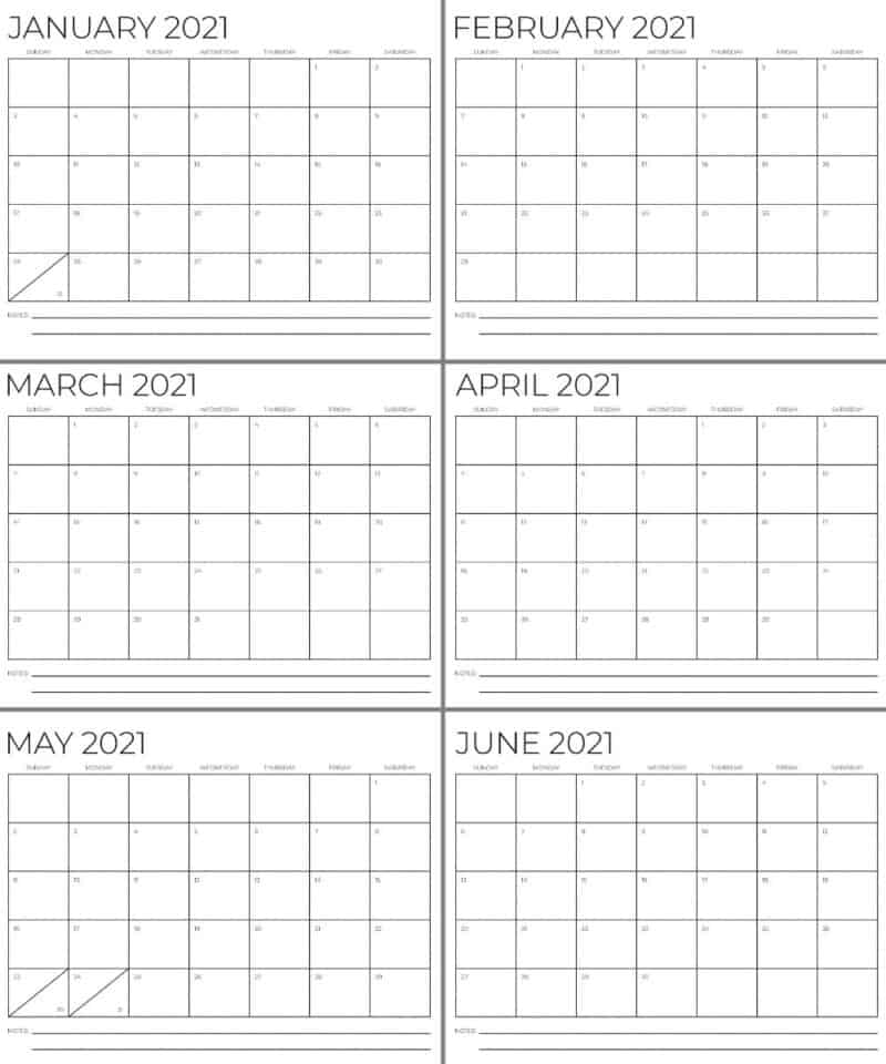Black and white Calendars for months January through June 2021 - free printables