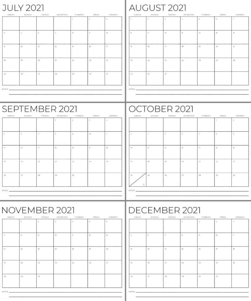 Black and white Calendars for months July through December 2021 - free printables