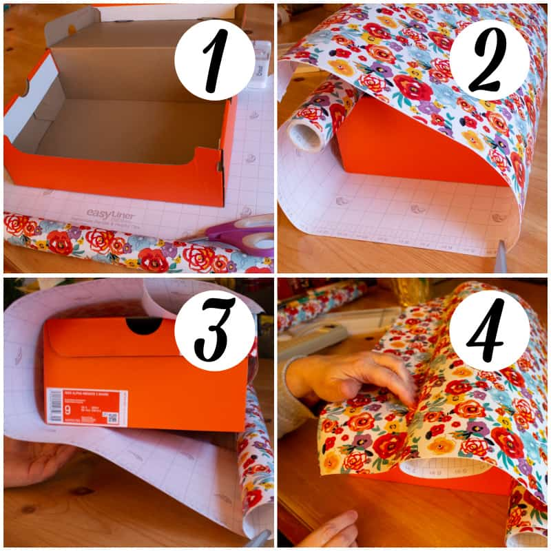 Collage of first six steps in progress to make a DIY Charging Station from a shoebox