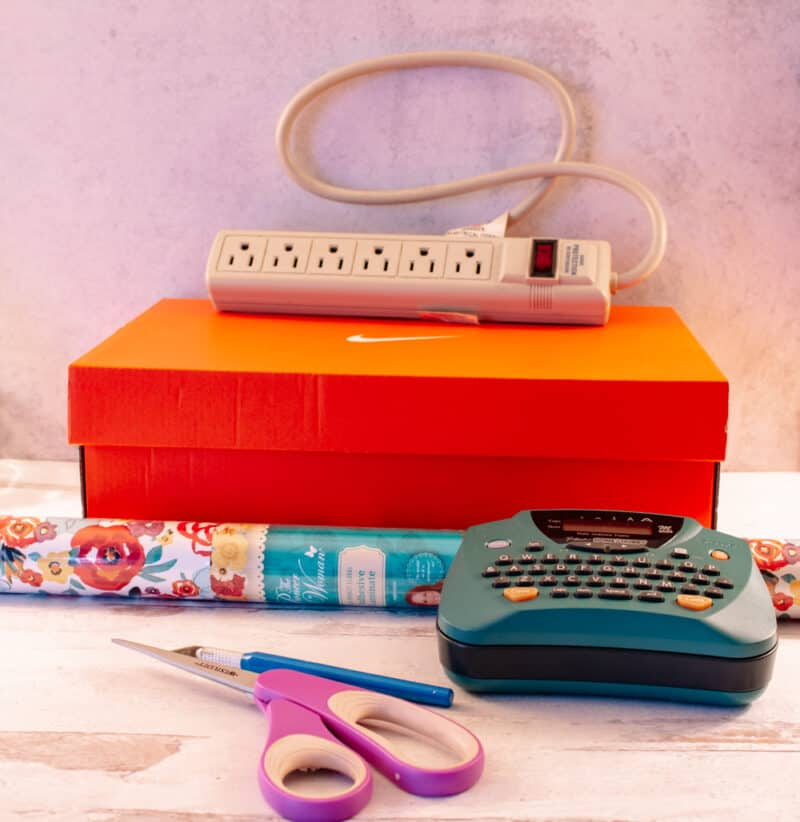 Supplies needed to make a Charging Station from a Shoebox