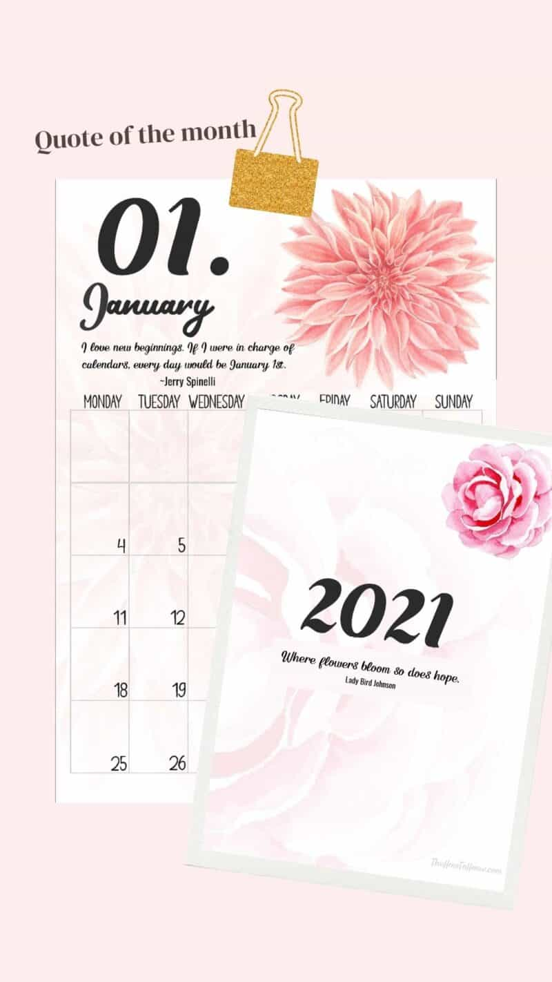 overview of floral themed calendar for the month of January 2021