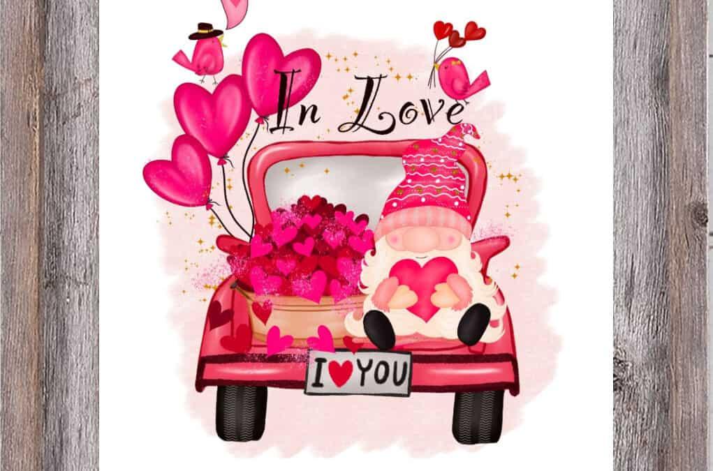 Darling Pink Vintage Truck Valentine's Day Printable