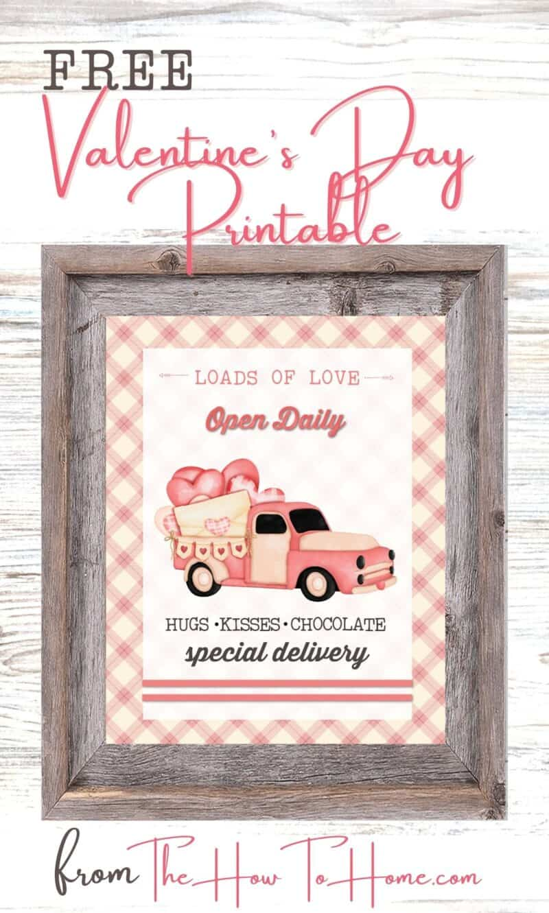 Pink Vintage Truck with hearts in the bed of the truck - free printable from The How To Home