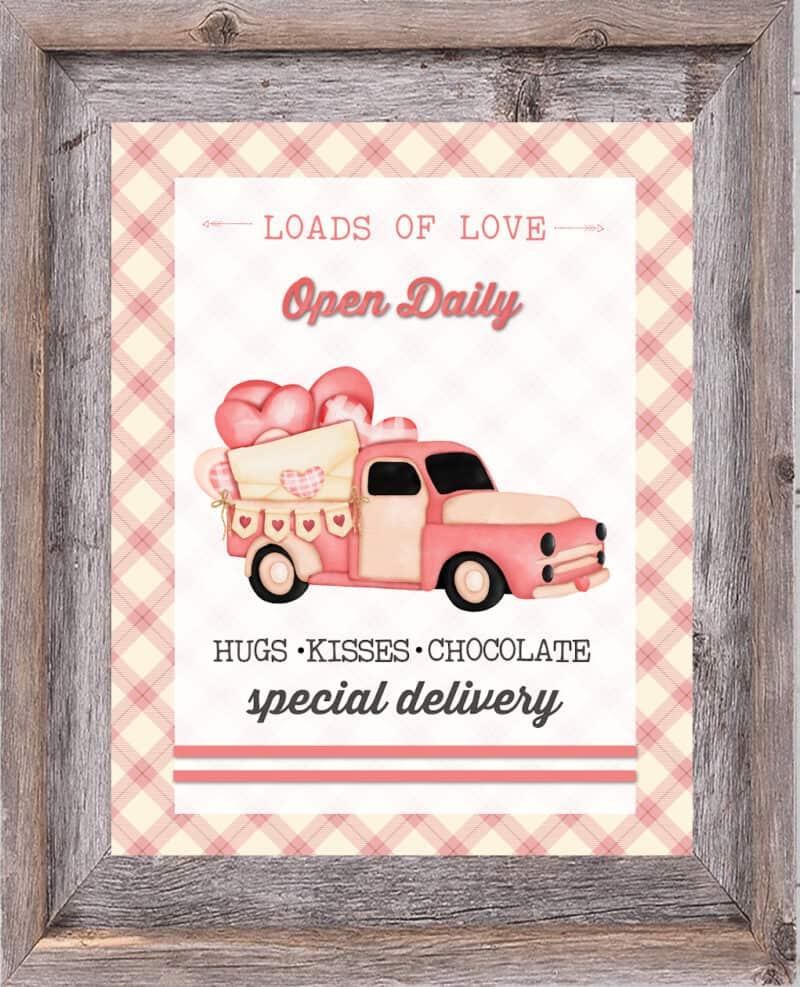 Valentine's Day Pink Vintage Truck Printable in Frame