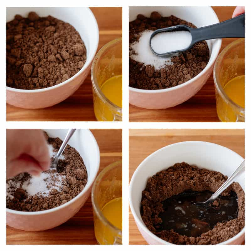 First four steps for making chocolate mini pie crusts