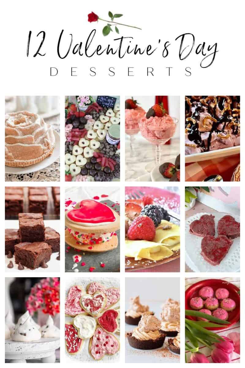 photos of 12 Valentine's Day desserts with links to recipes