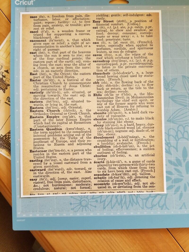 Dictionary page on Cricut sticky board
