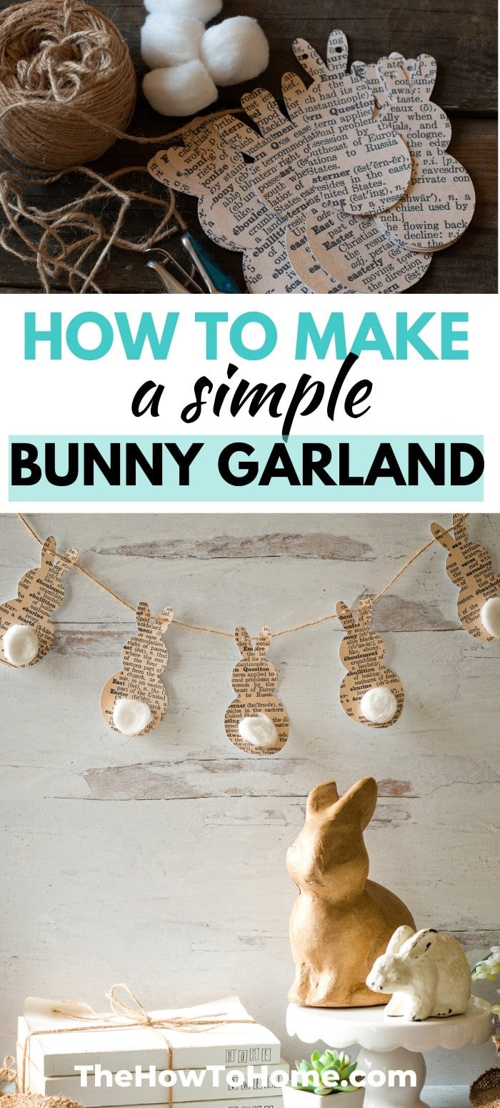 Vintage paper Easter bunny cutouts strung on twine with cotton tails - simple Easter Bunny Garland