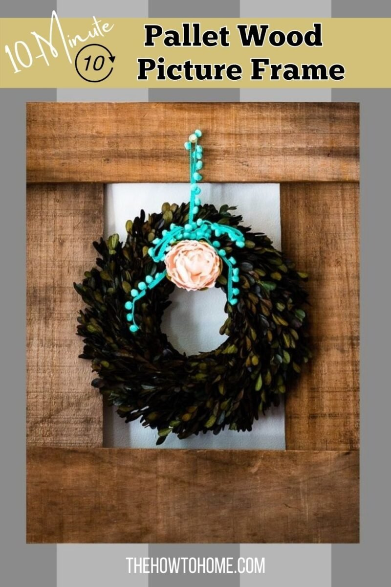 Pallet Wood Picture Frame on Wall with wreath