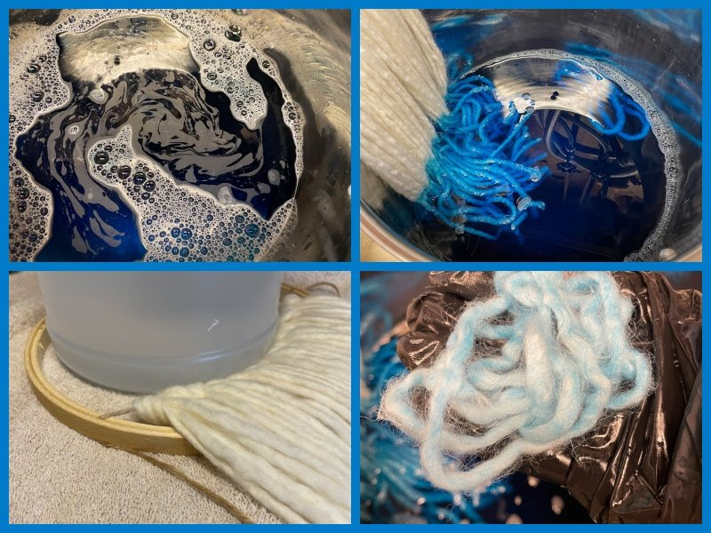 Collage of Bernat Roving yarn being dyed with Rit Aquamarine Dye