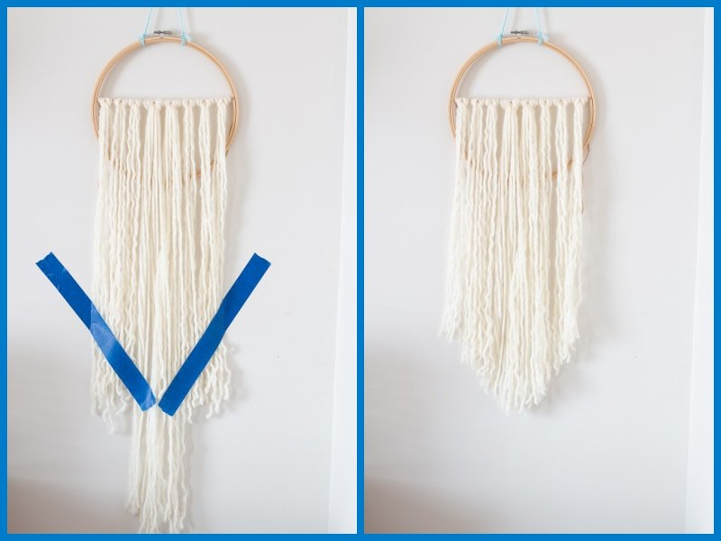 Quick tip for evenly cutting bottom of a yarn wall hanging into a V-shape