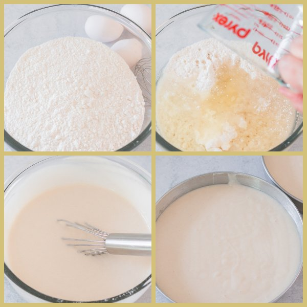Collage of white cake mix with ingredients added and mixed using a wire whisk by hand with the final image being the white cake batter in a cake pan - prep for the Patriotic Poke Cake