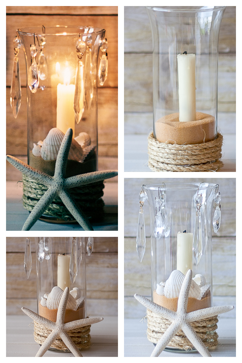 Hurricane Candle Holder variations with some shells inside the glass and a smaller candle in the center - a beautiful seashell candle holder