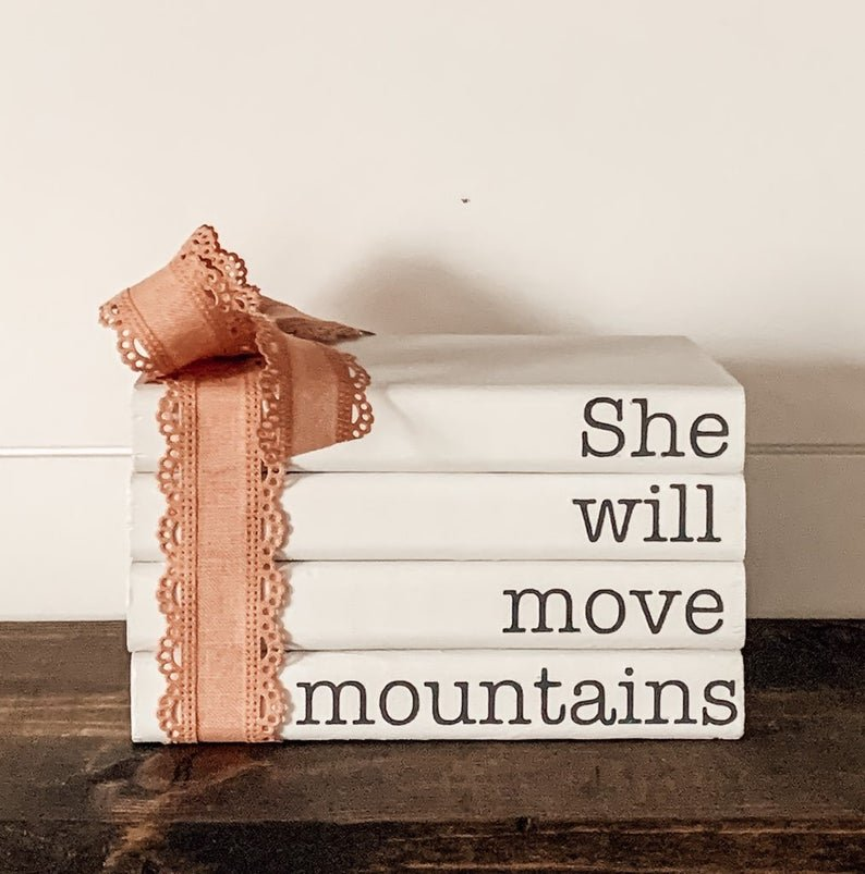 She Will Move Mountains Faux Book Stack | Etsy