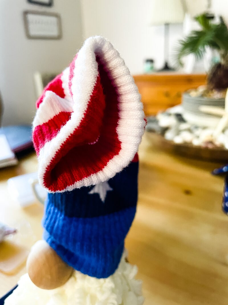 Patriotic sock used as a hat for a patriotic gnome