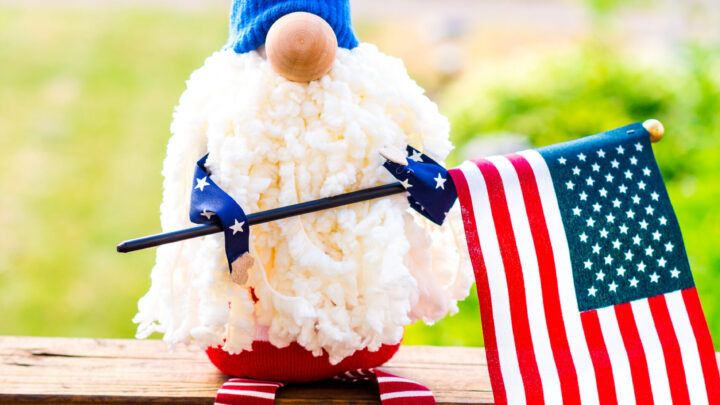 Adorable Patriotic Gnome holding an American Flag