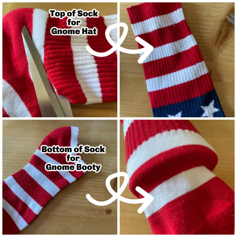 Collage of Patriotic Sock being cut out to make a patriotic gnome