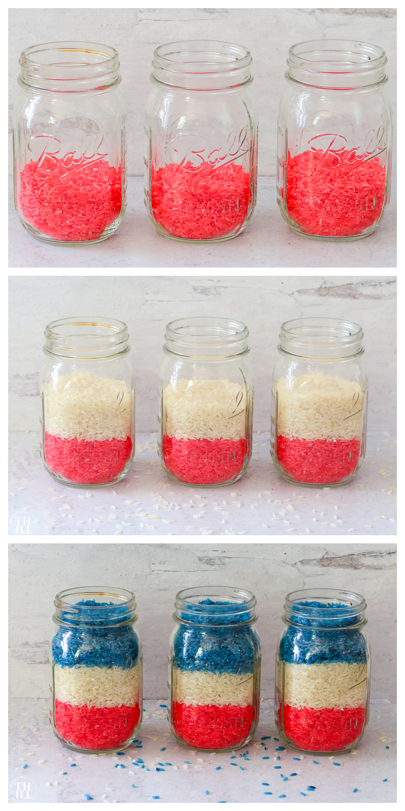 Mason Jars filled with Red, White, and Blue dyed rice for a patriotic 4th of July Centerpiece