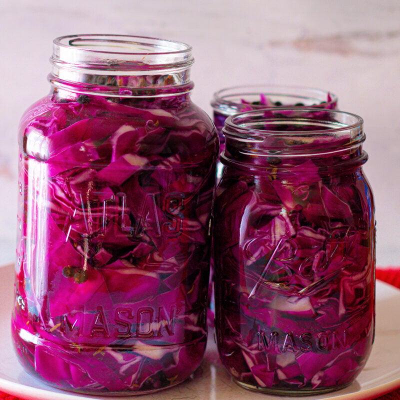 homemade red cabbage sauerkraut in a mason jar