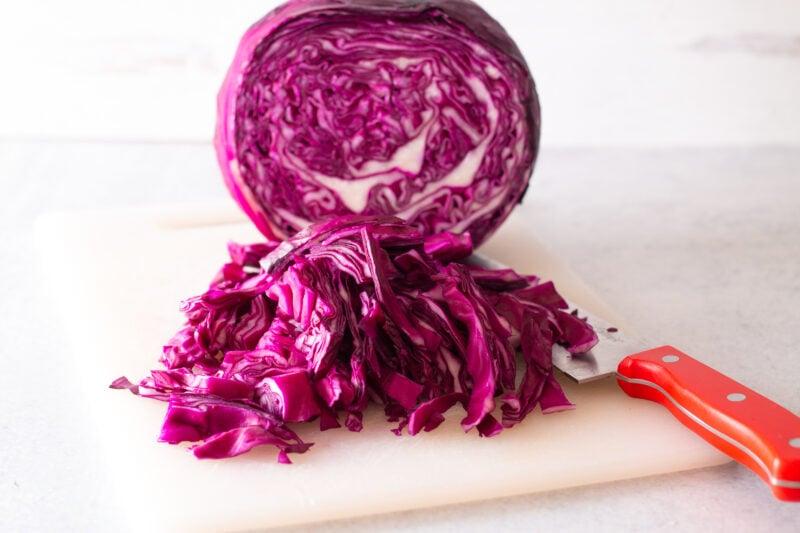 Shredded cabbage for red cabbage sauerkraut recipe