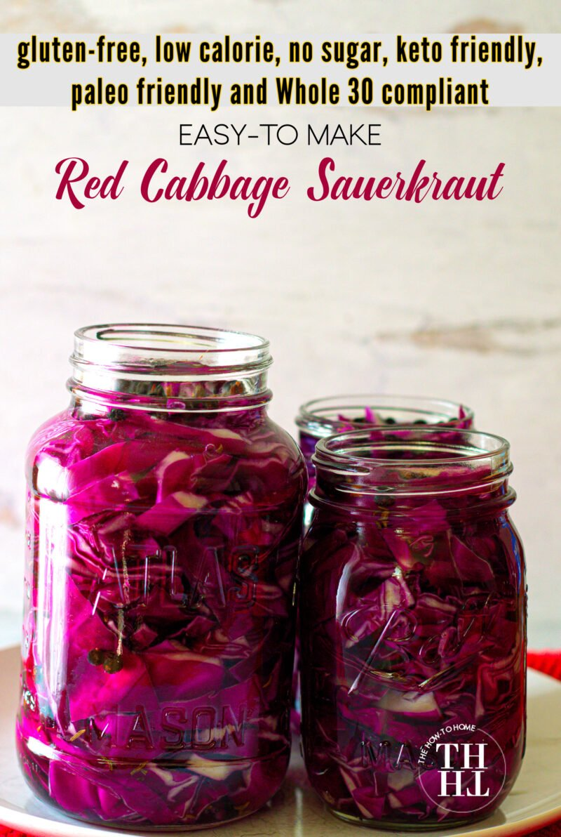 Homemade Red Cabbage Sauerkraut in mason jars