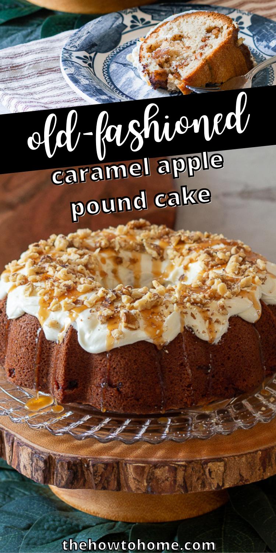 front view of bundt cake - caramel apple pound cake