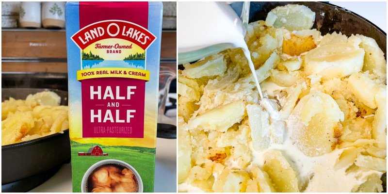 half and half being poured over potatoes in skillet for Creamy Amish Potatoes recipe