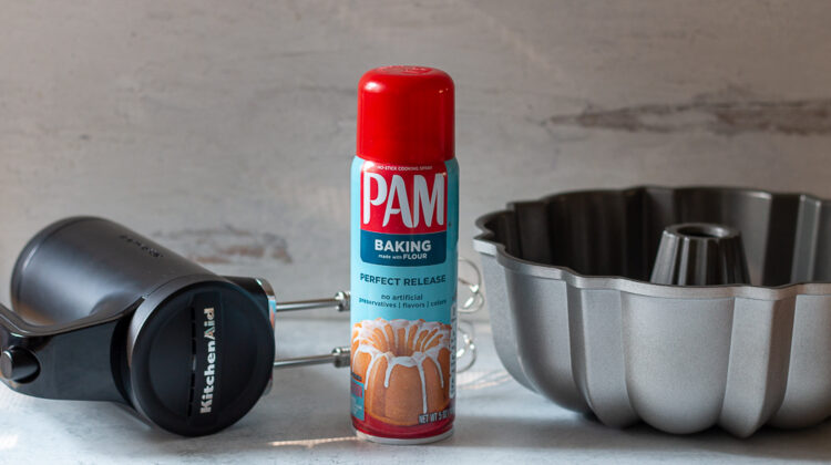 Pam Baking spray next to KitchenAid rechargeable mixer and 12-cup Nordic Ware Bundt cake pan