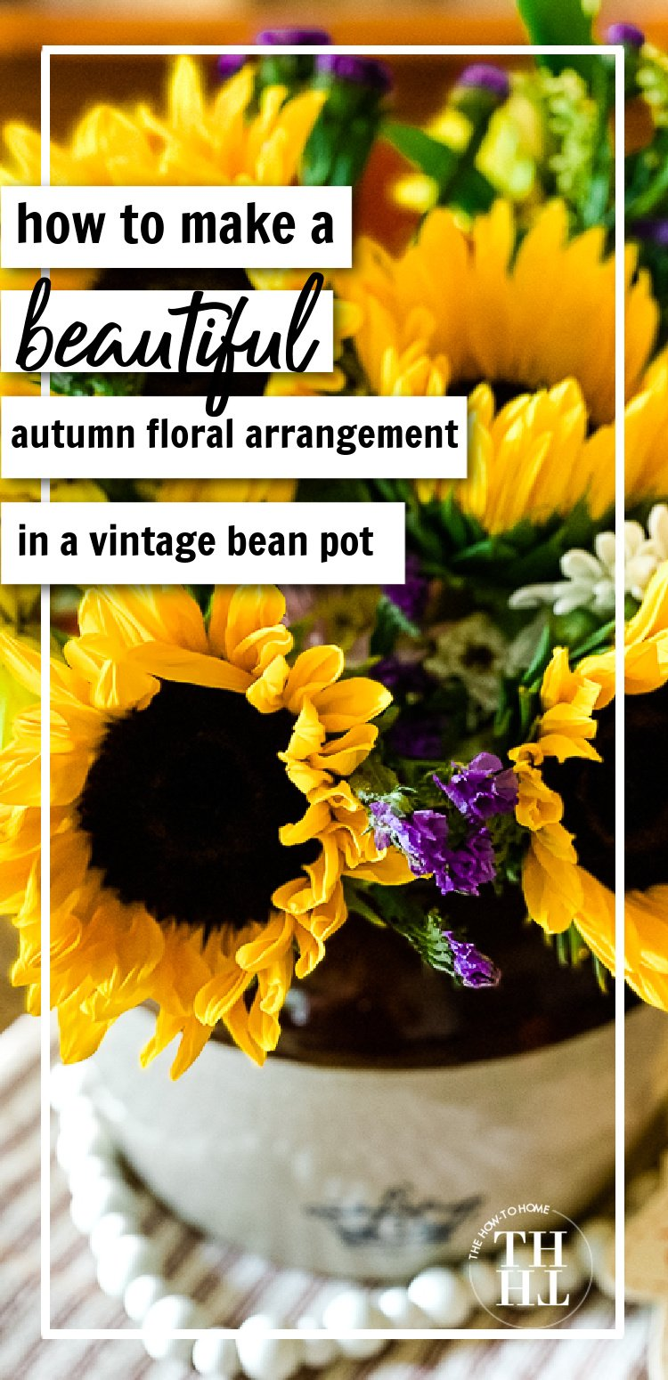 Simple steps to using a vintage bean pot to create a beautiful autumn display with fresh sunflowers.