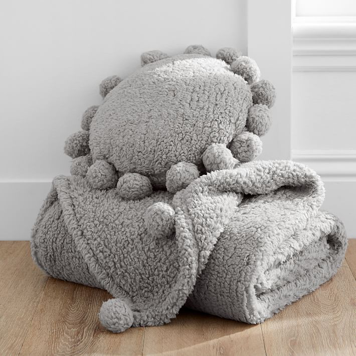 Cozy Pom Recycled Sherpa Throw and Pillow Set
