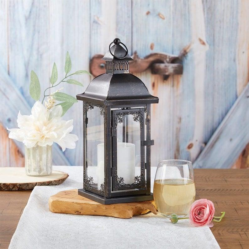 Black Ornate Lantern  Antique Vintage Theme