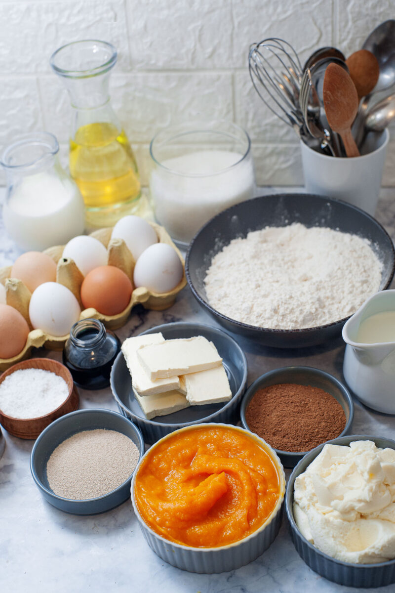 Ingredients used to make homemade pumpkin spice cream filled doughnuts