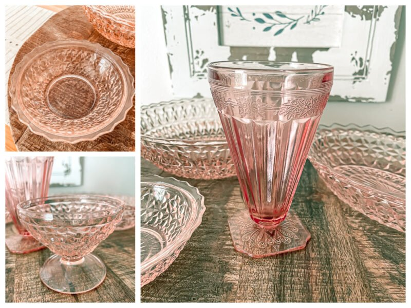 Close up views of pink depression glass