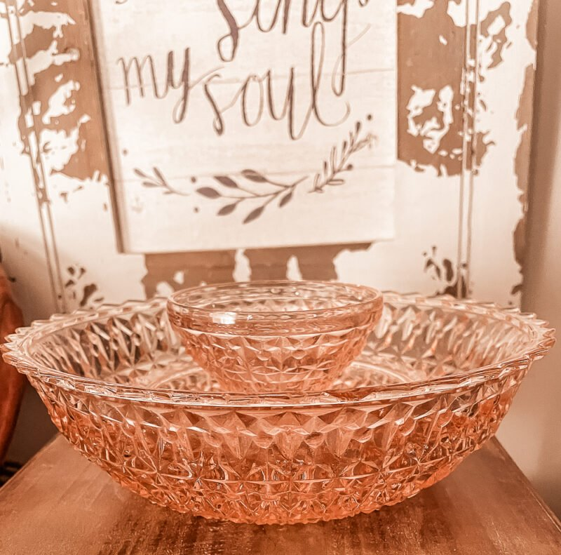 large pink depression glass serving bowl and small ice cream pink depression glass