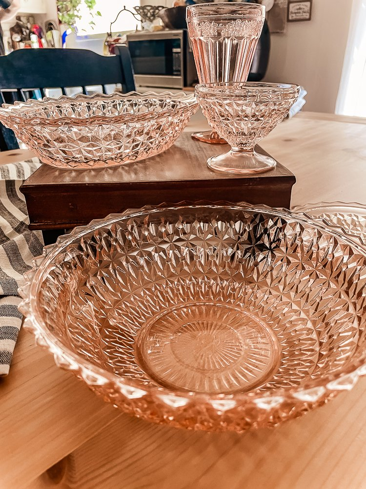 Close up view of large pink depression glass serving bowl