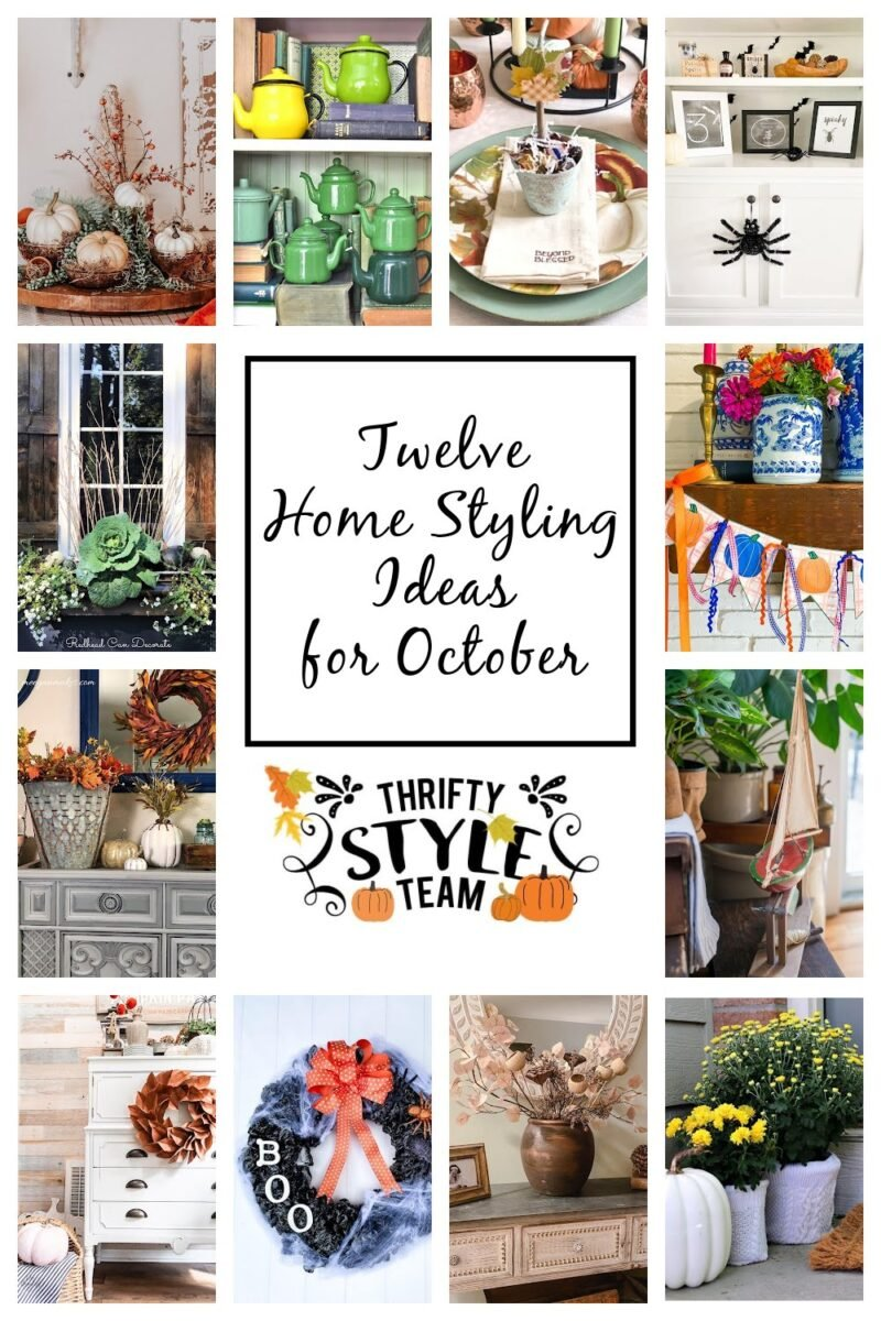 Collage of 12 beautiful home styling ideas for the month of October